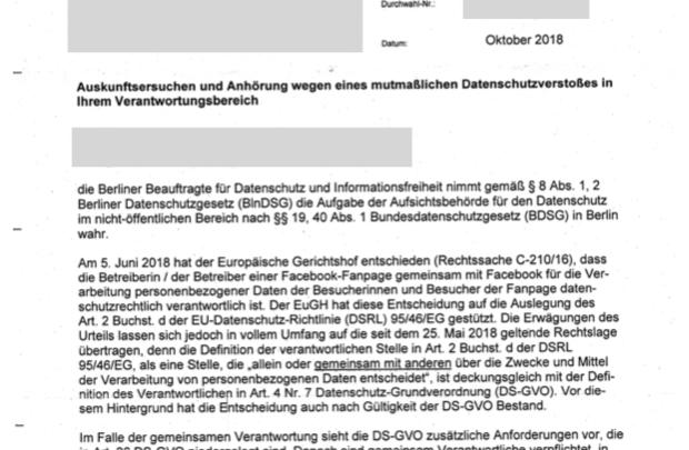 Facebook Fanpage Datenschutz